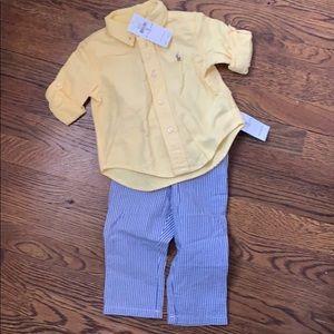 NWT Boys Ralph Lauren 2 piece shirt & pants set